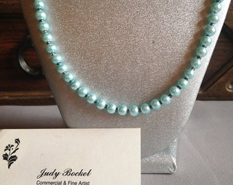 Powder blue faux pearl necklace and earring set !