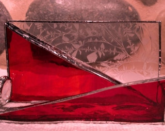 Orange/red with clear stained glass business card holder.