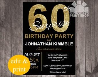 60th Surprise Birthday Invitation, INSTANT DOWNLOAD, digital, printable