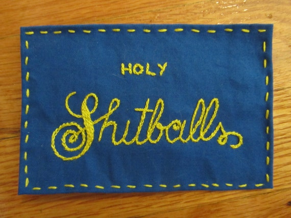 Embroidered patch holy shitballs punk patches feminist
