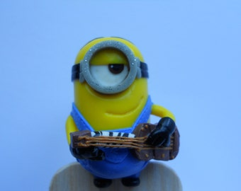 Bookmark minions friends with a guitar. Original gift idea.