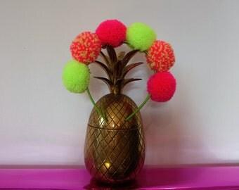 Neon multicoloured pom pom headand