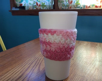 Pink and white cup cozies, set of 2