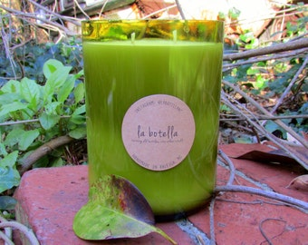 3-Scent 24oz Layered Soy Candle in Upcycled Glass Bottle by La Botella