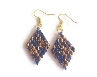Earrings blue gold beaded - Handmade earrings