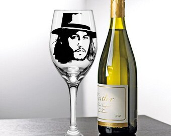 Johnny Depp, Painted Wine Glasses, Painted Wine Glass, Hand Painted Wine Glasses, Painted Glasses, White Wine, Red Wine, Stemless Glasses