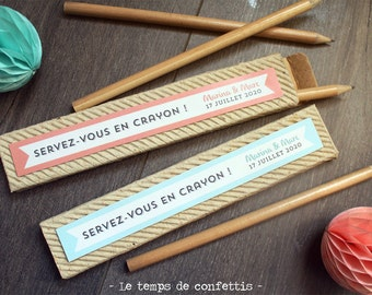 Box of pencils in custom natural wood wedding anniversary babyshower where baptism for games of the guests