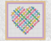 Heart cross stitch pattern, Valentine's Day chart, modern love heart, pastel, wedding, anniversary, Mother's Day, PDF - instant download