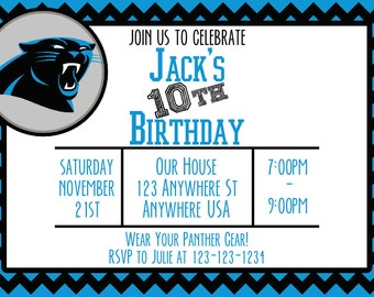 Carolina Panthers - Birthday Invitation - Several Patterns Available - Any Age!
