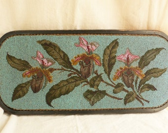 Antique Victorian beaded tray large tray bun feet flowers ENGLISH tea TRAY VICTORIAN hand  beaded  plateau
