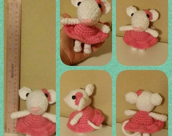 Crochet Mouse, Girl Mouse in a dress, Toy Mouse, Handmade Girl Mouse, Small Mouse, Mice