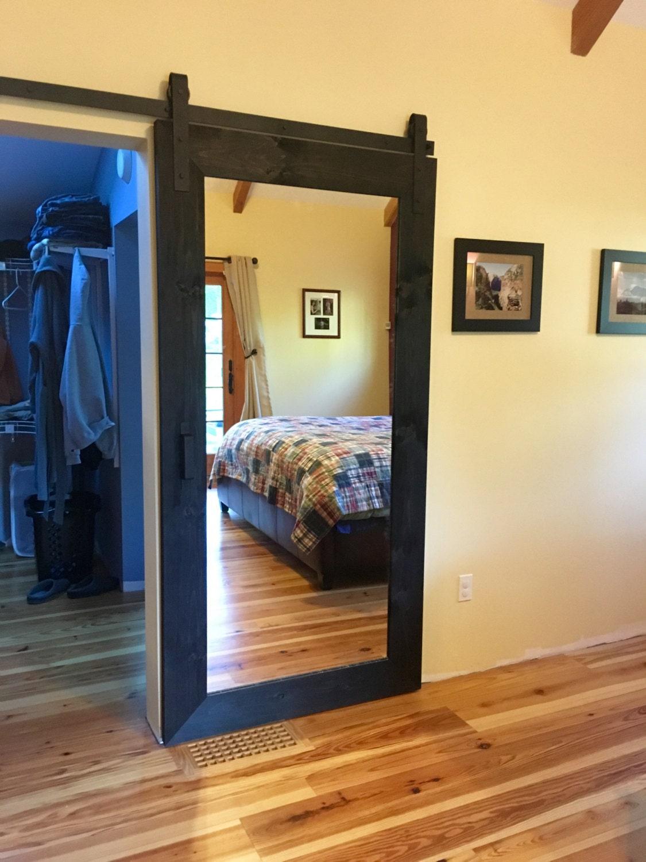 Rustic Barn Door With Full Length Mirror