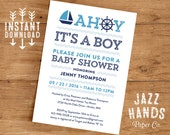 Printable Nautical Baby Shower Invitation Template | DIY Printable | Ahoy it's a Boy | Nautical Baby Shower | Blue | Navy | Sailboat