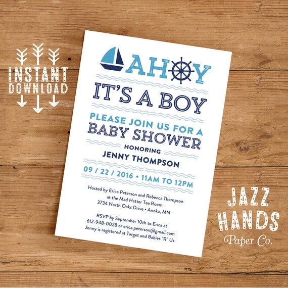 printable nautical baby shower invitation template diy printable