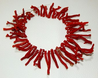 Italian Coral Stick branch Necklace 100% Natural Gemstone Size - 45x4 To 16x4.5 mm Approx  - Code - 0262