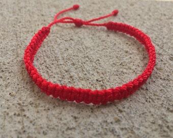 Simple Red Macrame Bracelet