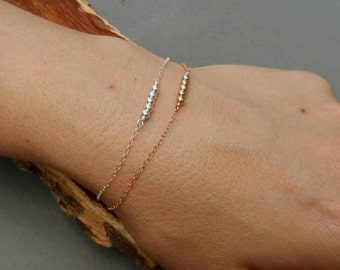 SALE*Rose Gold Bead Bar bracelet, bridesmaid gift, delicate stacking bracelet, minimalist,rose gold bracelet, sterling silver bracelet