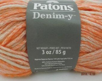Patons Denim-y Yarn ~ Wool Blend ~ Tangerine (Denim) ~ #4 Medium ~ 85 grams ~ 144 Yards ~