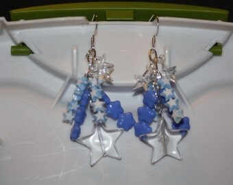 Blue & White Star Earrings