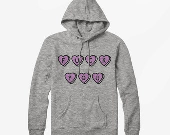 Vintage Style F*ck You Love Hearts Sweethearts - Hoodie Hooded Top Collage Jumper Varsity Fraternity Style