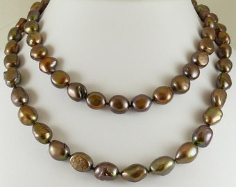 Freshwater Baroque Chocolate Pearl Necklace 14k Yellow Gold 34 Inches