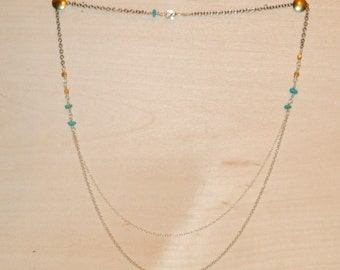 Simple Multi Strand Beaded Necklace