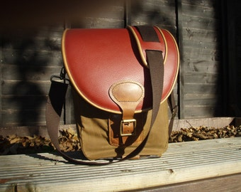 Leather messenger bag, shoulder bag, leather edged, with matching strap gripper