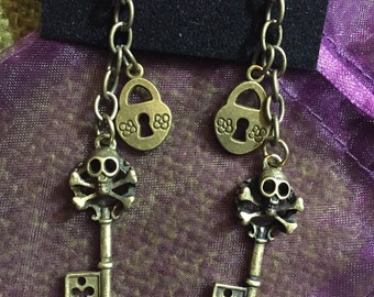 Antiqued Bronze Pirate Skull Skeleton Key and Lock Earrings