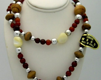 Vintage Wood & Shell Bead Necklace - New Old Stock 1970's