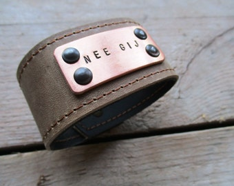 HANDMADE custom Bracelet, leather bracelet with aluminum or copper tag with your personal text (4-5 words)