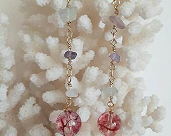Silver earrings with smoky quartz tourmaline gem necklace