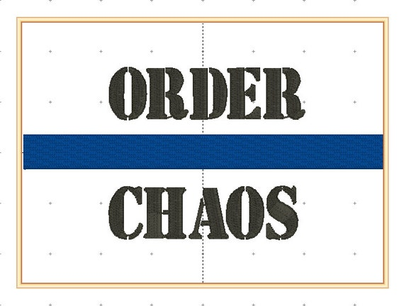 Thin Blue Line Embroidery Design, Order Chaos 5x7 size PES format only