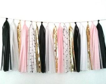 Black, white, pink and gold tassel garland - black, white, blush tassel garland - neutral tassel garland - black white room decor