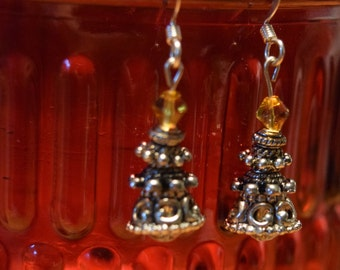 Christmas Tree Earrings #2  Ornmate silver Beads) & #3 (glass beads with top Amber beads)