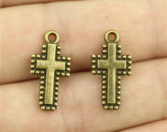 10 Cross Charms, Antique Bronze Tone (1G-91)