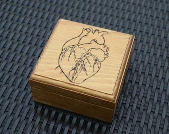Wood Burned Anatomical Heart Jewelery/Storage Box