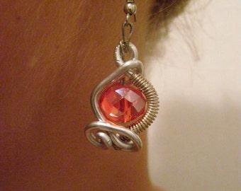 Wrapped Earrings,Silver Earrings,Wire wrapped Earrings,Wire Wrapped Jewelry,Handmade