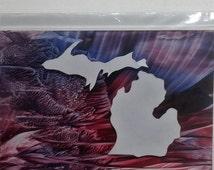 Unique Greeting Card Michigan Encaustic, handmade 3D