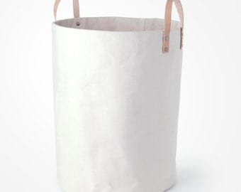 CANVAS STORAGE BIN - Natural Canvas and Leather