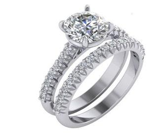 Pave Engagement Ring, Diamond Engagement Ring in 14k Gold. Diamond Ring, Unique Engagement Ring
