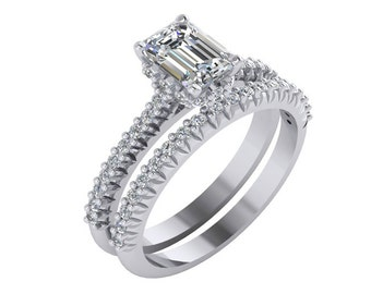 Emerald Cut Engagement Ring ,Single Row Emerald Cut Engagement Ring, Emerald Cut Moissanite Engagement Ring in 14k White gold.