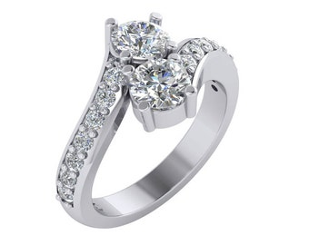 Diamond Two Stone Ring, Forever Two Stone Diamond Engagement Ring in 14k White gold.
