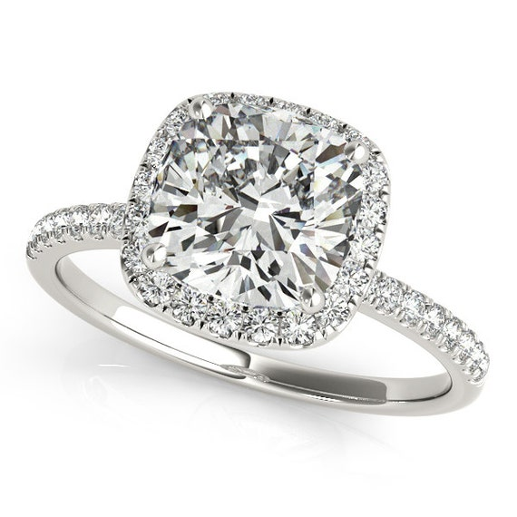 moissanite engagement ring cushion cut engagement ring