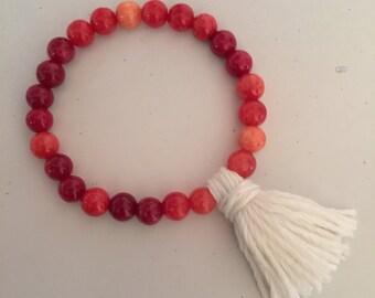 Bead Bracelet with Bamboo Tassel