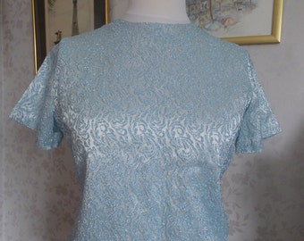 Party! Silver, blue lurex evening top, 1950s 1960s vintage by Terry, Chicago size M