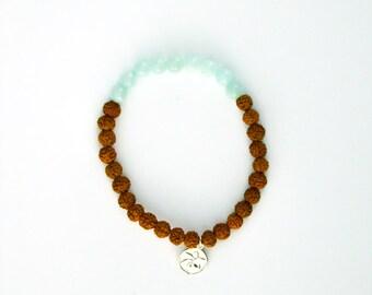 Mala bracelet COURAGE Amazonite light blue for yoga and meditation