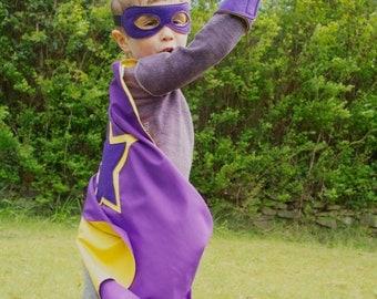 Superhero Cape Set, Kids cape, mask and cuffs superhero dressing up costume