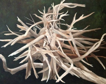 "SALE: Original driftwood oil painting, ""Reliquary,"" 30"" x 24"""