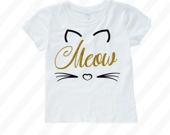 Cat costume toddler - cat costume girls - Cat halloween - Toddler cat shirt - baby cat shirt - meow shirt - kitty shirt - kitten shirt -girl