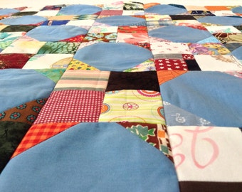 UNfinished Quilt Top, Scrappy, Snowball Quilt, Scrappy Quilt Top, Baby Quilt Top, Crib Quilt Top, Doggie Quilt Top, Doggie Quilt